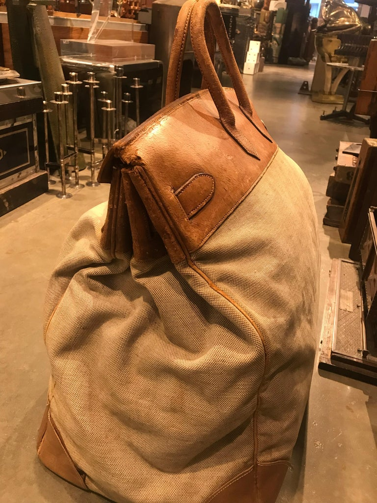 French Hermes Leather and Canvas HAC Travel Bag For Sale