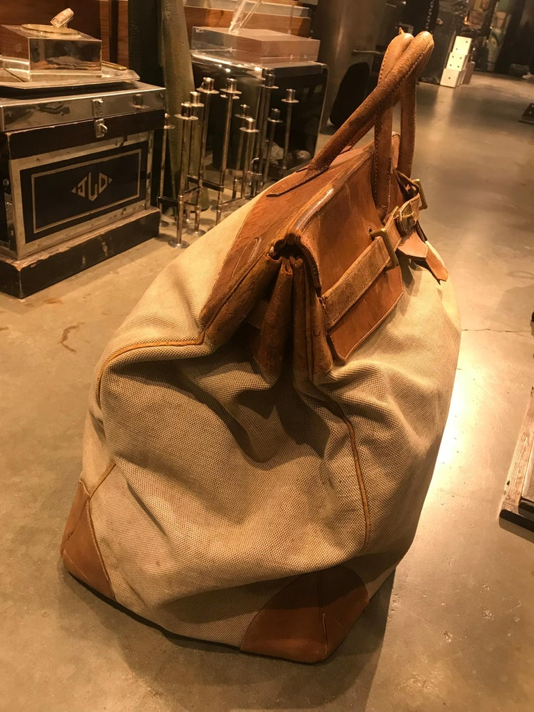 Hermes Leather and Canvas HAC Travel Bag In Fair Condition For Sale In New York, NY