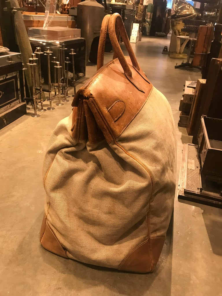 Mid-20th Century Hermes Leather and Canvas HAC Travel Bag For Sale