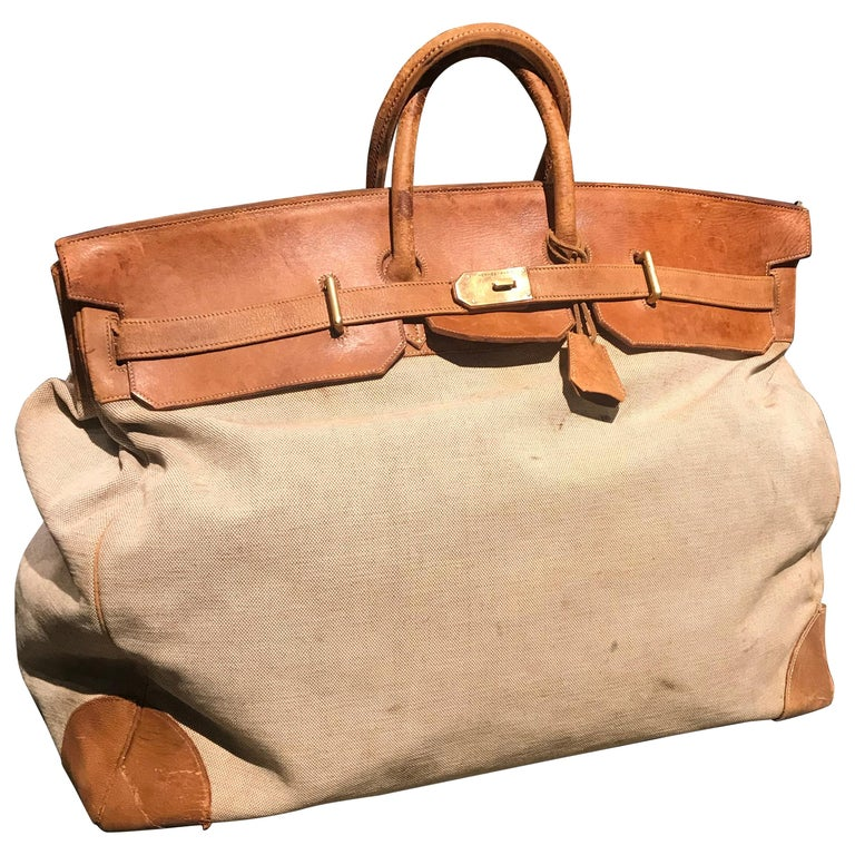 Hermes Leather and Canvas HAC Travel Bag For Sale
