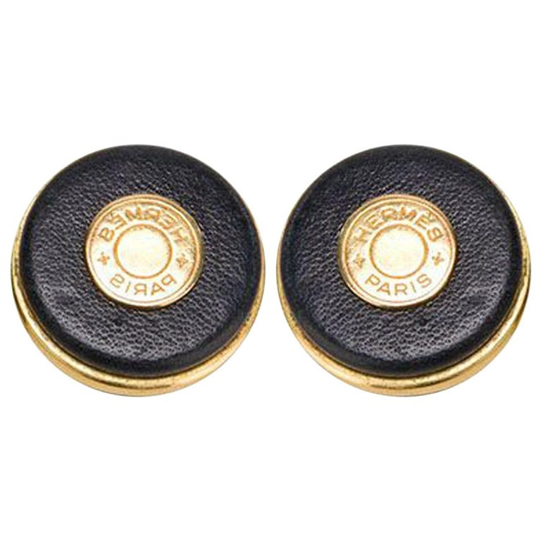 Hermes Leather Covered Earrings  For Sale