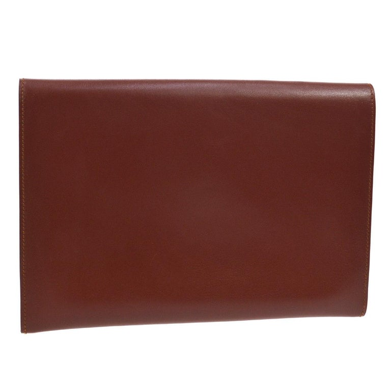 Brown Hermes Leather Gold Silver Horse Emblem Evening Envelope Clutch Bag in Box For Sale