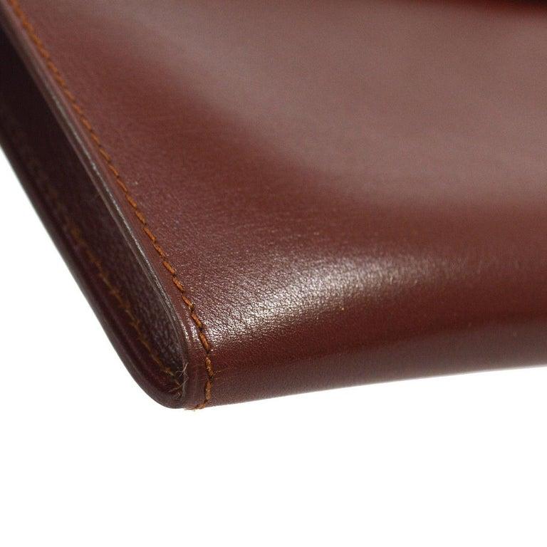 Women's Hermes Leather Gold Silver Horse Emblem Evening Envelope Clutch Bag in Box For Sale