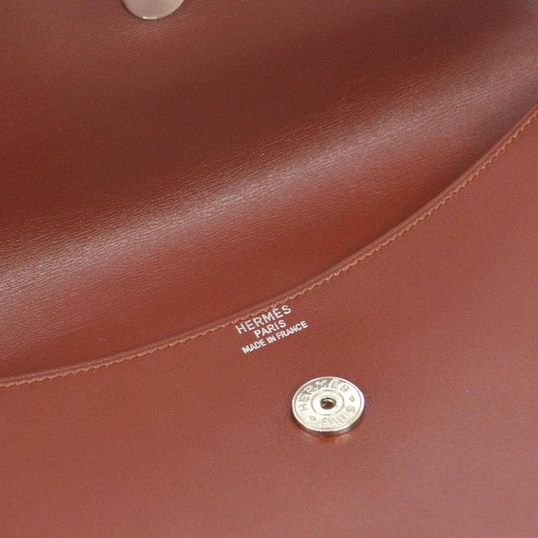 Hermes Leather Gold Silver Horse Emblem Evening Envelope Clutch Bag in Box For Sale 1