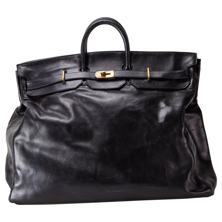 Hermes 55cm Black travel bag HAC, 1970s For Sale