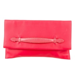 Hermes Leather Lizard Exotic Leather Fold Over Envelope Evening Clutch Flap Bag