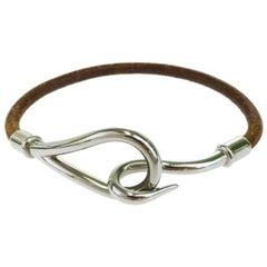 Hermes Leather & Palladium Jumbo Hook Bracelet
