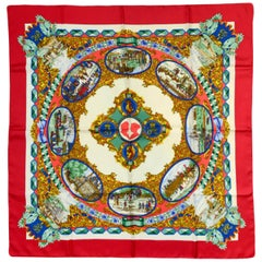 Hermes L'Entente Cordiale 90cm Silk Scarf with Red Border by Loic Dubigeon