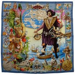 Hermes Les Ameriques Blue Silk Scarf