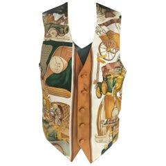 Hermès Les Automobiles Great Gatsby 100% Silk Scarf Print Vest FR 38/ US 4 6