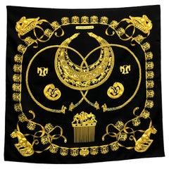 Hermes Les Cavaliers D'Or Silk Black Scarf
