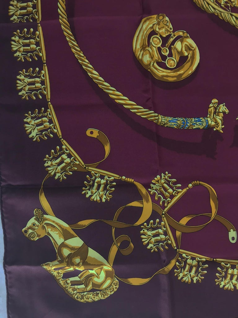 Hermes Les Cavaliers D'Or Silk Twill Scarf designed by Vladimir Rybaltchenko, signed as Rybal, 1939 - 2002, the great-nephew of Philippe Ledoux and the father of Dimitri Rybaltchenko. This scarf was first issued in 1975 and reissued many times