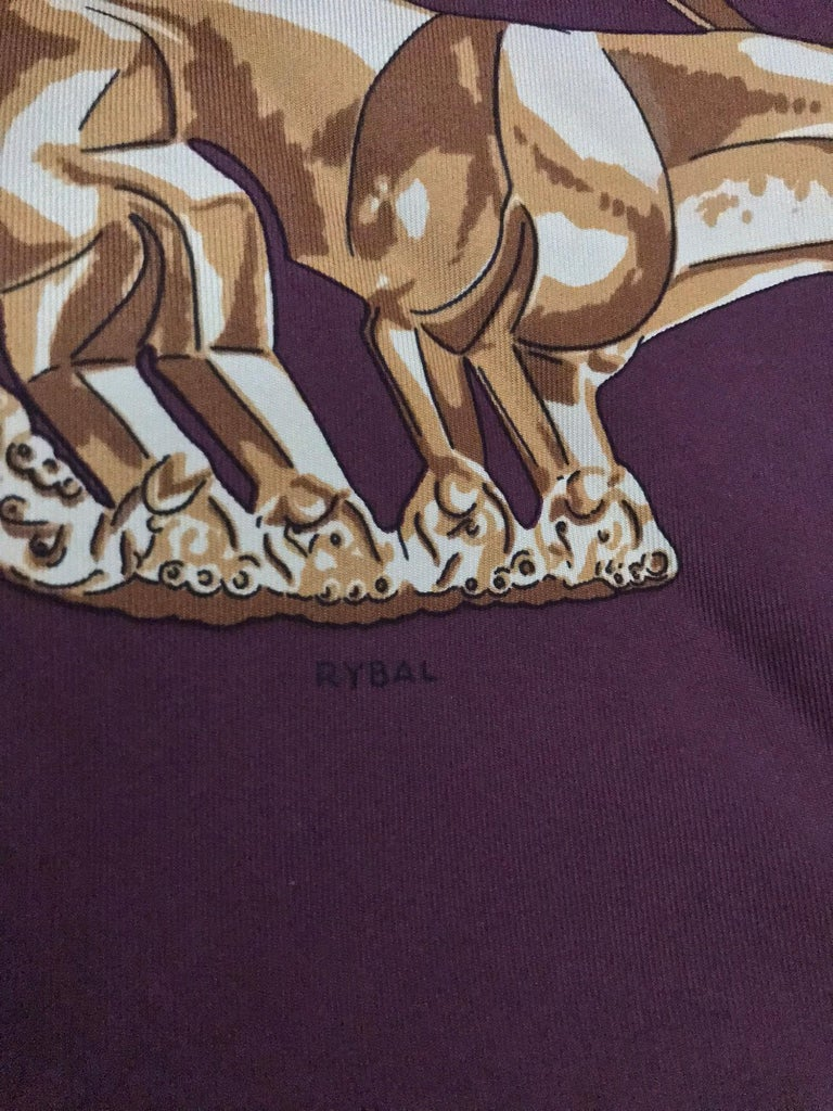 Hermes Les Cavaliers D'Or Silk Twill Scarf designed by Vladimir Rybaltchenko  For Sale 2