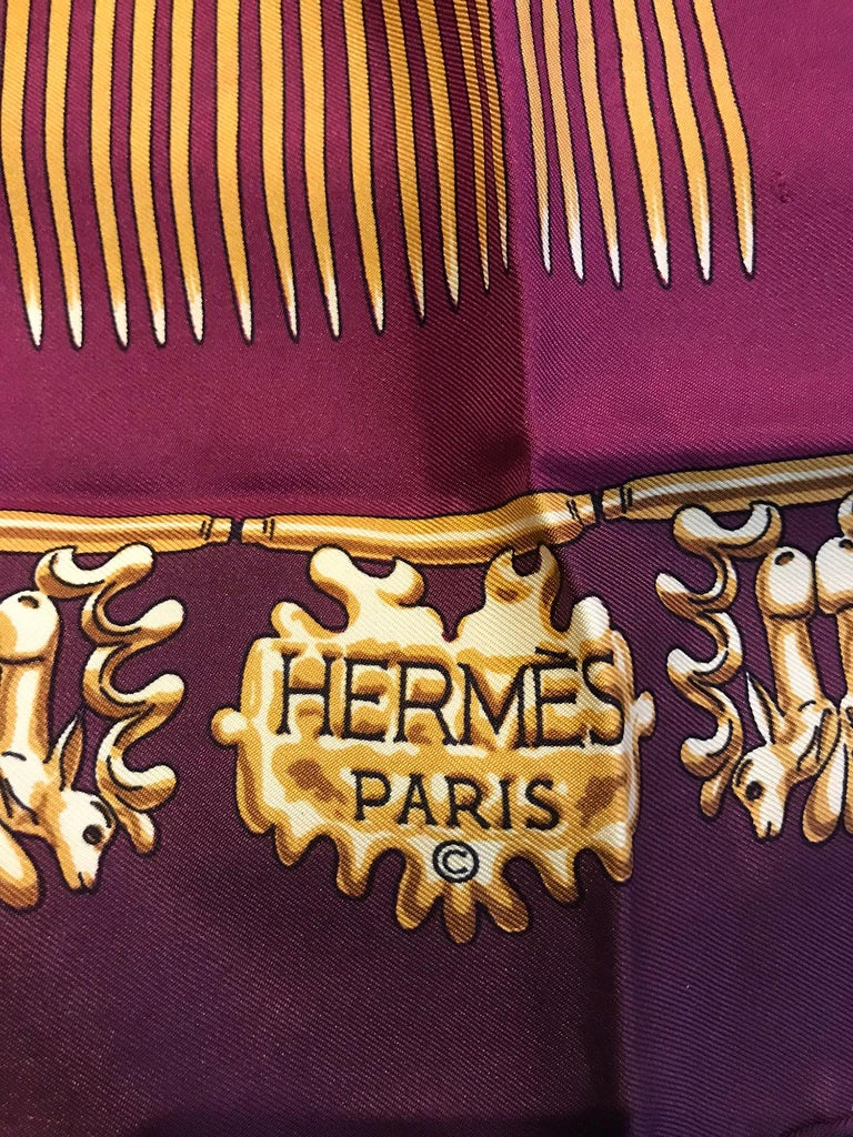 Hermes Les Cavaliers D'Or Silk Twill Scarf designed by Vladimir Rybaltchenko  For Sale 3
