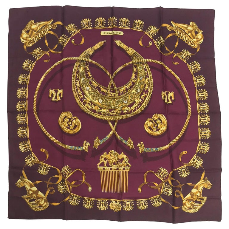 Hermes Les Cavaliers D'Or Silk Twill Scarf designed by Vladimir Rybaltchenko  For Sale