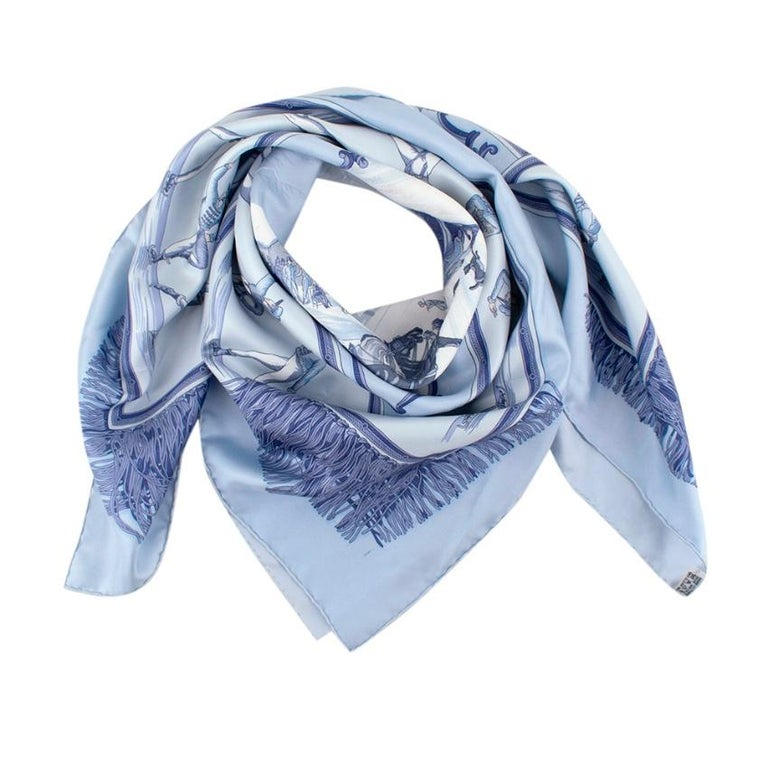 Hermes Blue Silk Square Scarf Depicting an Ice Scene  -luxurious soft silk texture  -gorgeous soft blue hues  -Titled