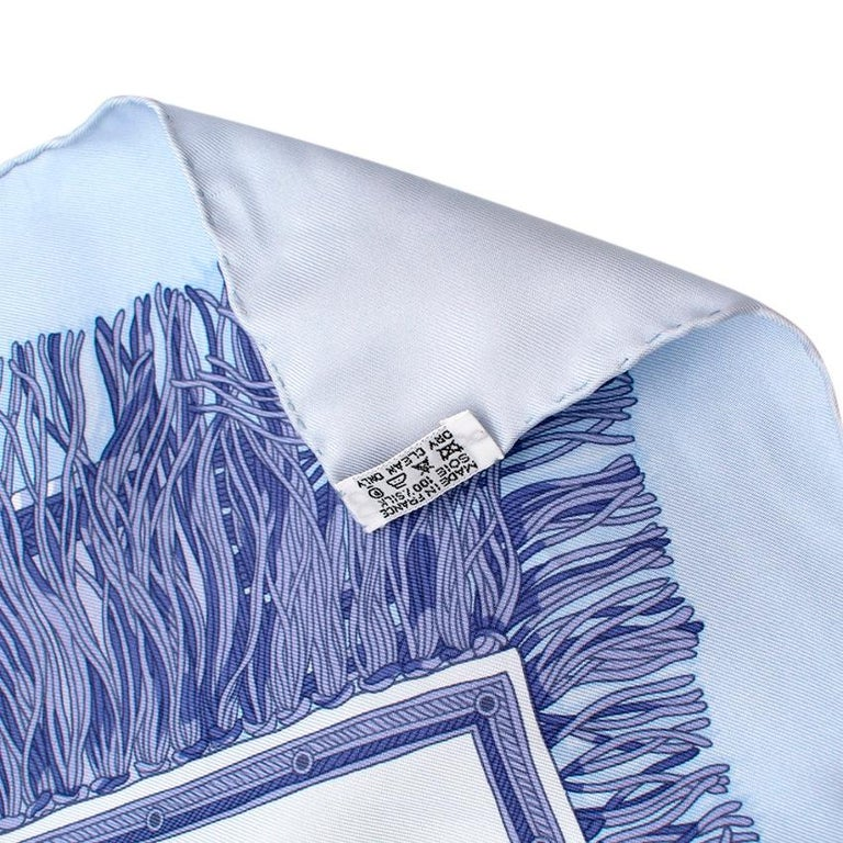 Blue Hermes Les Plaisirs Du Froid Silk Scarf 90 For Sale