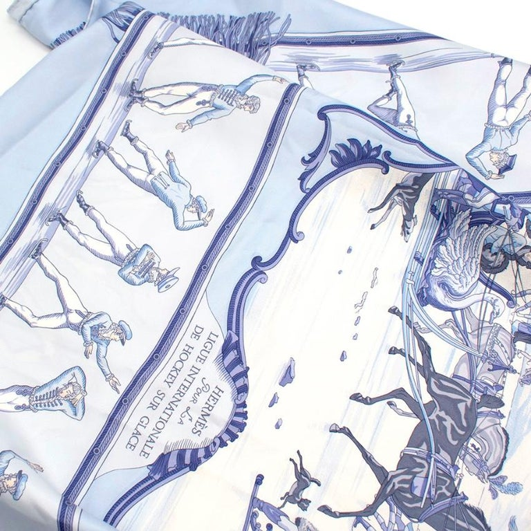 Hermes Les Plaisirs Du Froid Silk Scarf 90 For Sale 1