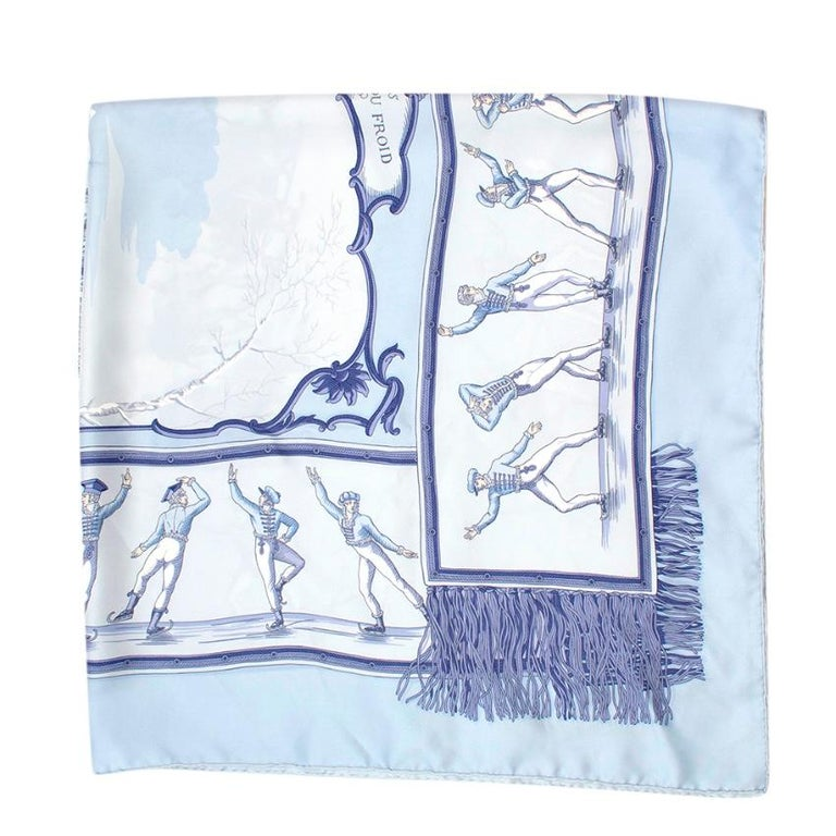 Hermes Les Plaisirs Du Froid Silk Scarf 90 For Sale 2