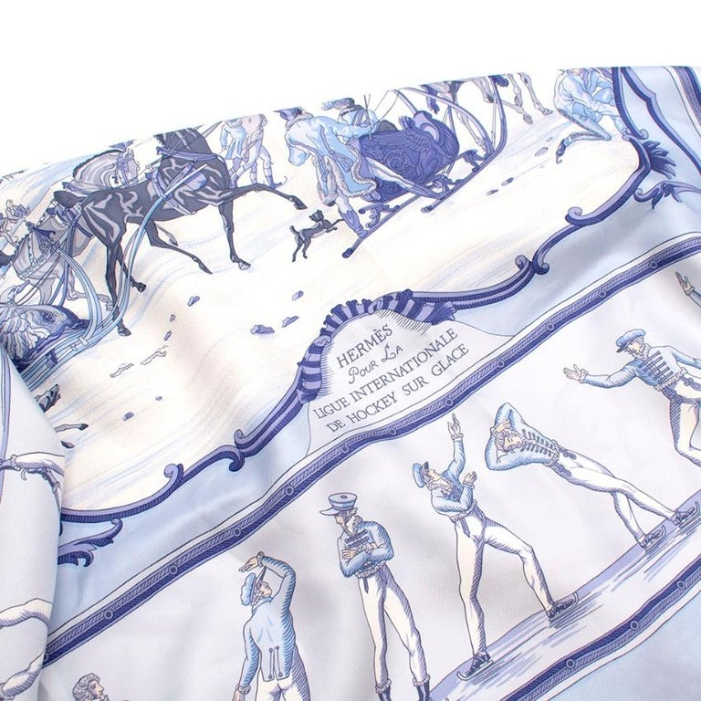 Hermes Les Plaisirs Du Froid Silk Scarf 90 For Sale 3