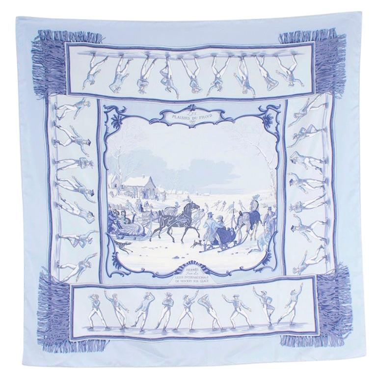 Hermes Les Plaisirs Du Froid Silk Scarf 90 For Sale