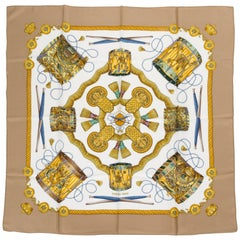 "Hermes ""Les Tambours"" Etoupe Silk Scarf"