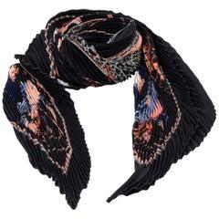 Hermès Les Voitures à Transformation Plissé Black Silk Scarf