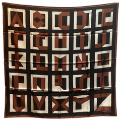 Hermes Letters Au Carre Silk Scarf