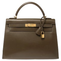 Hermes Lichen Box Calf Leather Gold Hardware Kelly Sellier 32 Bag