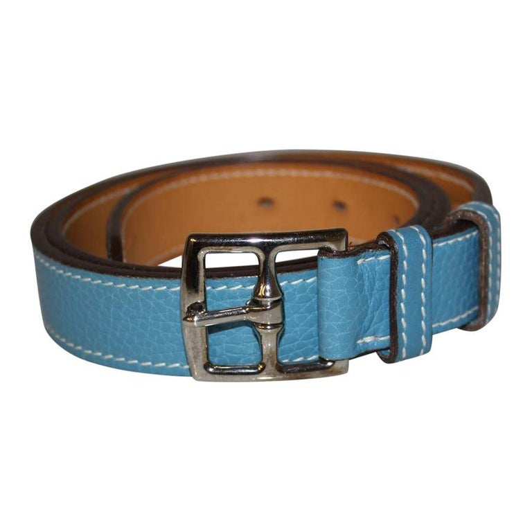 Iconic Hermès belt Leather Light blue color Total length cm 97 (38.18 inches) Height cm 2.5 (0.98 inches) Worldwide express shipping included in the price !
