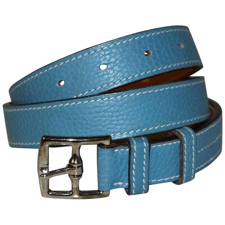 Hermes Light Blue Belt For Sale
