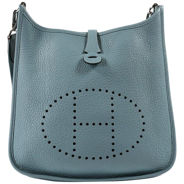Hermès Light Blue Clemence Evelyne PM III For Sale