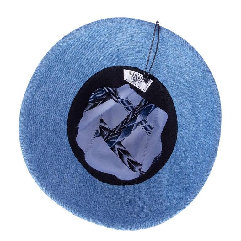 Blue HERMES light blue cotton DENIM Wide Brimmed Bucket Hat S For Sale