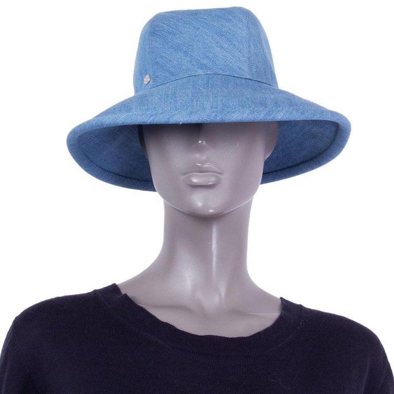 Women's HERMES light blue cotton DENIM Wide Brimmed Bucket Hat S For Sale