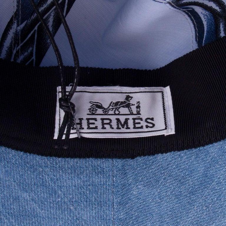 HERMES light blue cotton DENIM Wide Brimmed Bucket Hat S For Sale 1