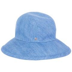 HERMES light blue cotton DENIM Wide Brimmed Bucket Hat S