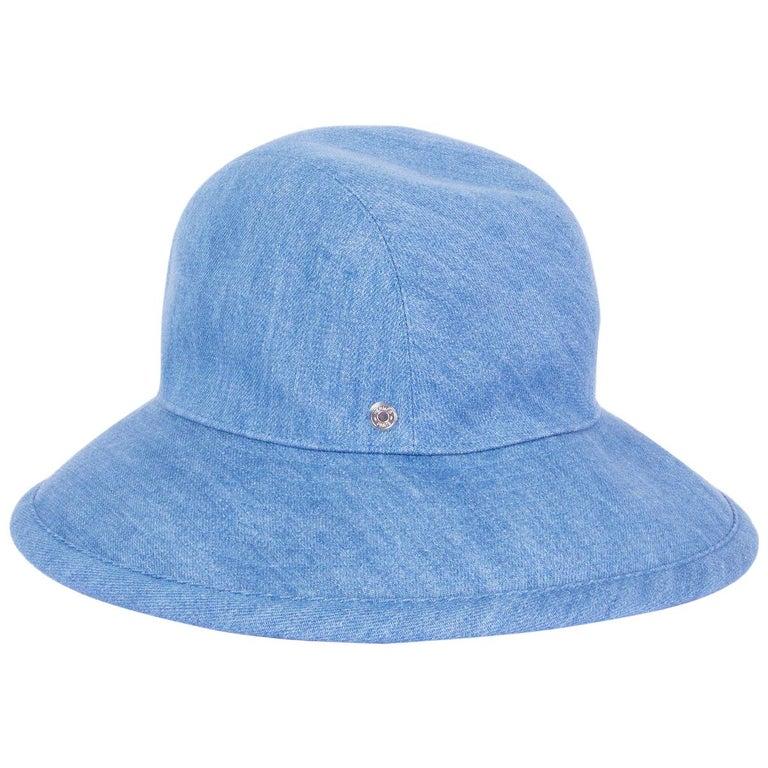HERMES light blue cotton DENIM Wide Brimmed Bucket Hat S For Sale