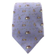 HERMES Light Blue Dog House Star Print Silk Tie 5084 PA