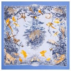 Hermes light blue EQUATEUR 90 silk WASH Scarf