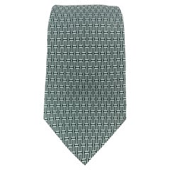 HERMES Light Blue & Forest Green Abstract H Print Silk Tie