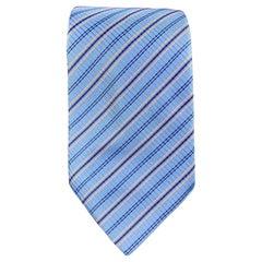 HERMES Light Blue & Orange Diagonal Stripe Plaid Silk Tie