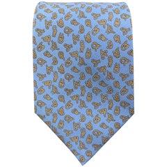 HERMES Light Blue Silk Knot Print Tie