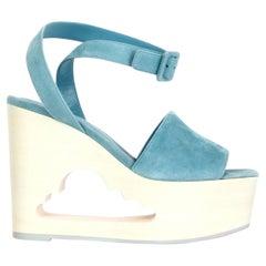 HERMES light blue suede TENDRESSE Cloud Wedge Platform Sandals Shoes 38.5