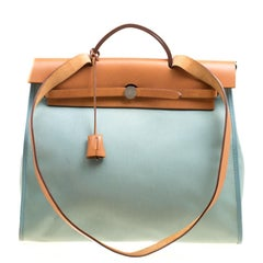 Hermes Light Green Canvas and Leather Herbag Zip 39 Bag