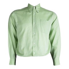 Hermes Light Green Cotton Textured Long Sleeve Button Down Shirt L