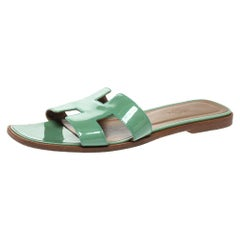 Hermes Light Green Patent Leather Oran Flat Slides Size 39