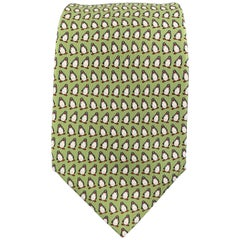 HERMES Light Green Penguin Print Silk Tie
