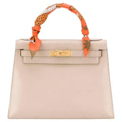 Hermès Light Grey Box Leather 28cm Kelly Sellier Bag