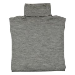 Hermes Light Grey Fine Cashmere and Silk Roll Neck