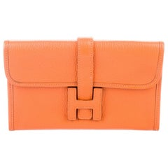 Hermes Light Orange Leather 'H' Jige Small Mini Logo Evening Clutch Flap Bag